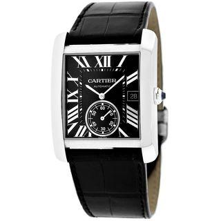 Cartier Men's W5330004 'Tank MC' Automatic Black Leather Watch