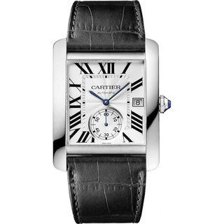 Cartier Men's W5330003 'Tank MC' Automatic Black Leather Watch