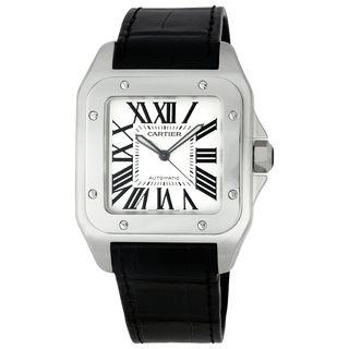 Cartier Men's W20073X8 'Santos 100 XL' Automatic Black Leather Watch