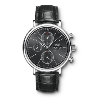 IWC Men's IW391008 'Portofino' Chronograph Automatic Black Leather Watch