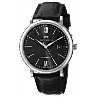 IWC Men's IW356502 'Portofino' Automatic Black Leather Watch
