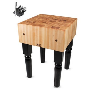 John Boos Black Butcher Block 24 x 24 Table with Casters and Henckels 13-piece Knife Block Set