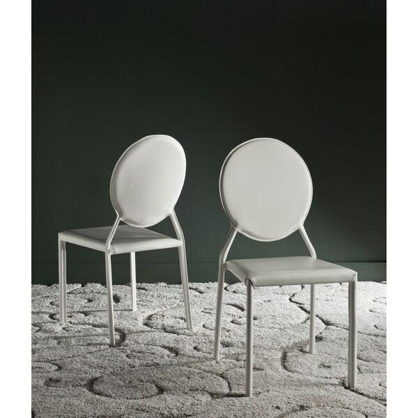 Safavieh Mid Century Dining Warner White Dining Chairs Set of 2