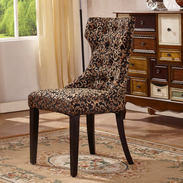 Modern Black Floral Parson Dining Chair (Set of 2)