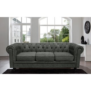 Madison Home Chesterfield  Linen Tufted Scroll Arm Ash Grey Sofa