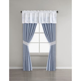 Harbor House Crystal Beach White Cotton Lined Window Valance with Embroidery/ Rod Pocket Finish