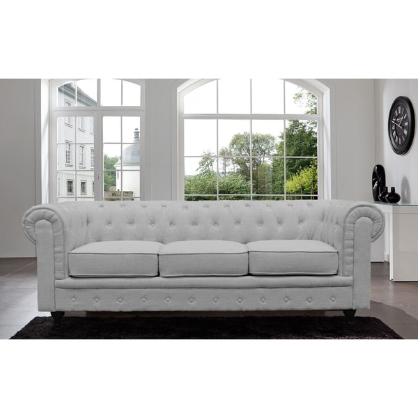 Fresh Madison Home Chesterfield Linen Tufted Scroll Arm Light Grey Sofa  BE42