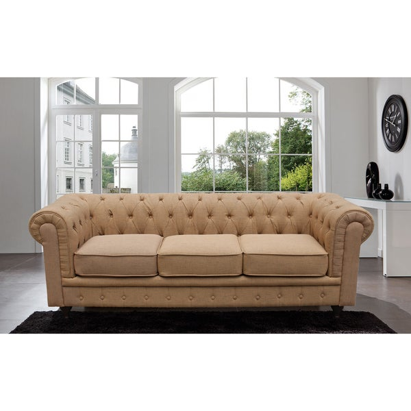 I Madison Home Chesterfield Linen Tufted Scroll Arm Rust Colored Sofa