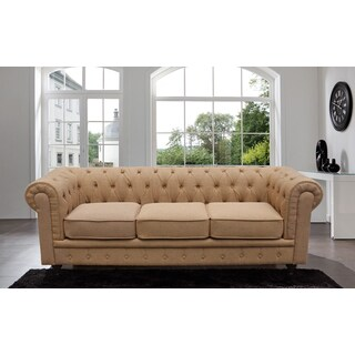 Madison Home Chesterfield Linen Tufted Scroll Arm Rust Colored Sofa