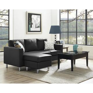 Avenue Greene Small Spaces Black Faux Leather Configurable Sectional Sofa