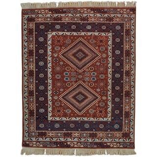 Handmade Wool Brown Vintage Oriental Rectangle Rug (5' x 7')