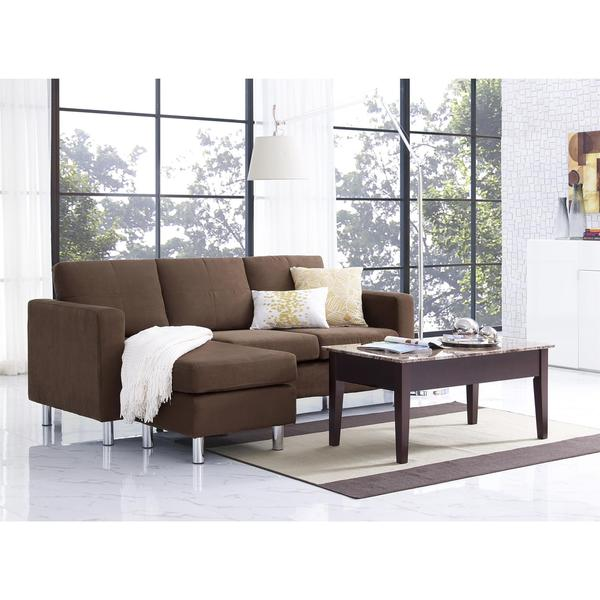 Dorel Living Small Es Brown Microfiber Configurable Sectional Sofa