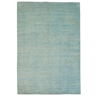Handmade Wool Blue Contemporary Oriental Rectangle Rug (11' & Up)