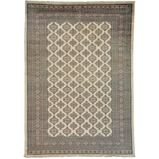 Handmade Wool Ivory Traditional Jalder Oriental Rectangle Rug (10' x 12')