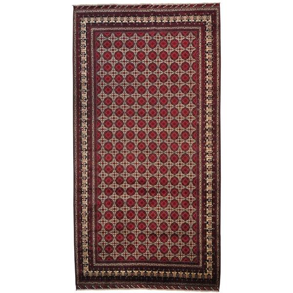 Handmade Wool Ivory Traditional Oriental Rectangle Rug - 10' x 19'2