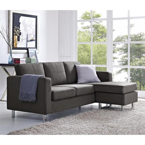 Dorel Living Small Spaces Grey Microfiber Configurable Sectional