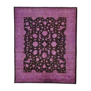Handmade Wool Black Traditional Oriental Rectangle Rug (8' x 10')