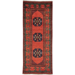 Handmade Wool Red Traditional Oriental Runner Rug (4' x 10')