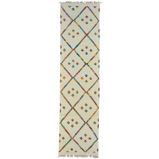 Hand-woven Wool Ivory Traditional Geometric Runner Rug (3' x 10')