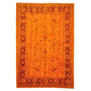 Handmade Wool Orange Transitional Oriental Rectangle Rug (6' x 9')