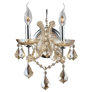 Maria Theresa Imperial 2-light Golden Teak and Crystal Candle Wall Sconce