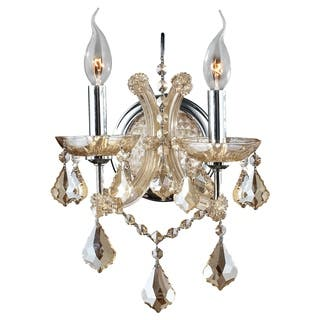 Crystal wall lights for less overstock maria theresa imperial 2 light golden teak and crystal candle wall sconce aloadofball Image collections