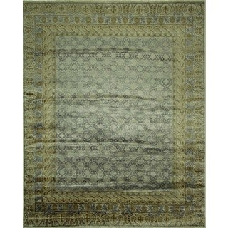 Satiny Purple and Ivory Oriental Rayon from Bamboo Silk Hand Knotted Area Rug (8' x 9'10)