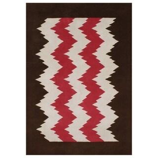 Handmade Alliyah Biscon Dark Brown New Zealand Blend Wool Rug (5x8)