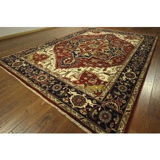 Magnificent Serapi Red/Navy Blue Heriz Floral Hand Knotted Wool Rug (9'10 x 14'1)