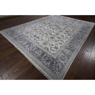 Exquisite Blue-Grey Shiny Silk Rayon from Bamboo Silk Hand Knotted Area Rug (8'10 x 11'11)