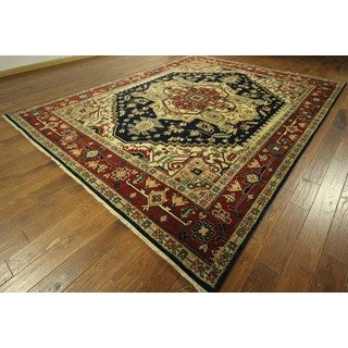 New Unique Navy Blue and Red Heriz Serapi Hand Knotted Wool Area Rug (9'1 x 11'10)