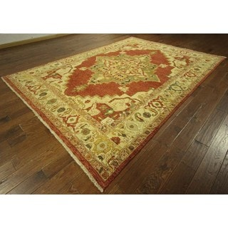 New Hand Knotted Oriental Red and Ivory Heriz Serapi Wool Area Rug (8' x 10'9)