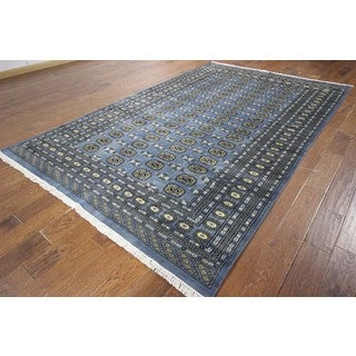 Turkmon Gul Motif Hand Knotted Oriental Blue Bokhara Wool Area Rug (6'5 x 10'2)