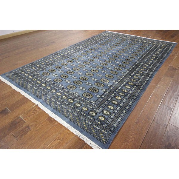 Hand Knotted Persian Wool Area Rug 5 10: Turkmon Gul Motif Hand Knotted Oriental Blue Bokhara Wool