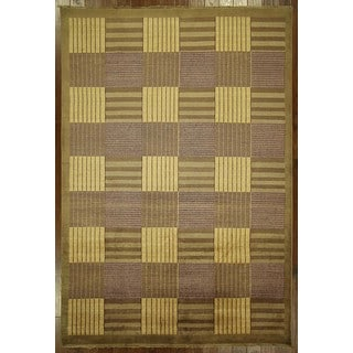 New Checkered Design Multicolor Gabbeh Hand Knotted Oriental Wool Rug (6'7 x 9'7)