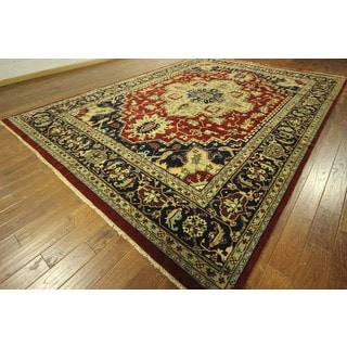 Beautiful Floral Heriz Red/Navy Blue Serapi Hand Knotted Wool Rug (10'1 x 14'2)