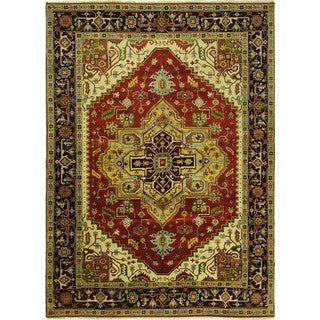 New Hand Knotted Floral Red/Navy Blue Heriz Serapi Wool Area Rug (10'1 x 13'10)