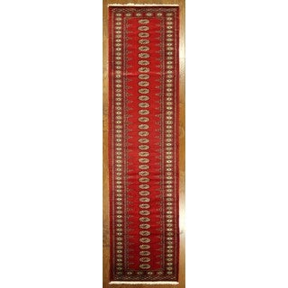 New Handmade Red Oriental Bokhara Runner Hand Knotted Wool Area Rug (2'8 x 16'1)