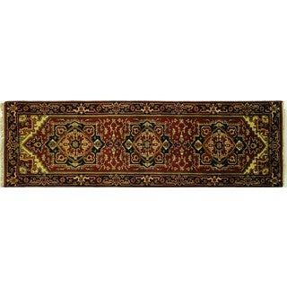 Serapi Collection Oriental Burgundy/Black Heriz Hand Knotted Wool Rug (2'7 x 8'1)