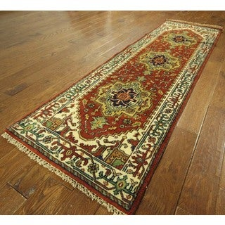 Oriental Runner Red and Ivory Heriz Serapi Hand Knotted Wool Area Rug (2'6 x 7'10)