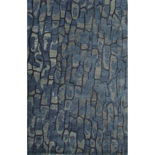 National Geographic Hand-Tufted Abstract Pattern Blue shadow/Dark denim Wool (8x10) Area Rug