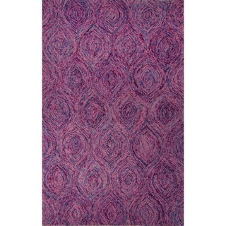 Hand-Tufted Abstract Pattern Keepsake lilac/Aegean blue Wool (8x10) Area Rug
