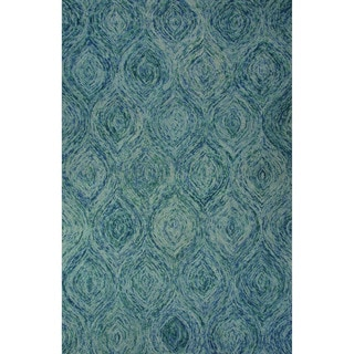 Hand-Tufted Abstract Pattern Mineral blue/Green-blue slate Wool (8x10) Area Rug