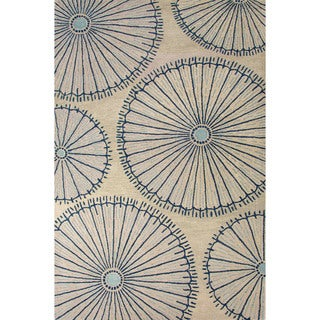 Hand-Tufted Geometric Pattern Fog/Ensign blue Wool (8x10) Area Rug