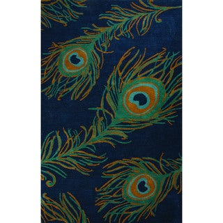 Hand-Tufted Animal Pattern Blueashes/Bayou Wool Area Rug (8x10)
