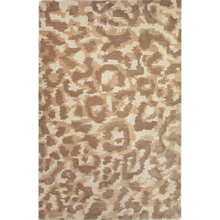 Hand-Tufted Animal Pattern Oatmeal/Aluminum Wool (8x10) Area Rug