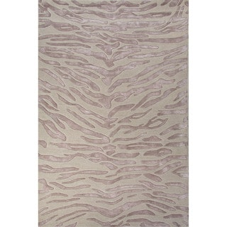 National Geographic Hand-Tufted Animal Pattern Opal gray/Blue fox Wool (8x10) Area Rug