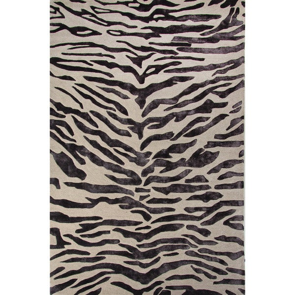 National Geographic Hand Tufted Animal Pattern Oyster Gray/Plum Kitten Wool  (8x10)