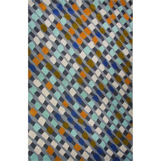 Hand-Tufted Geometric Pattern Cloud burst/Pewter Wool (8x10) Area Rug