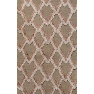 Flatweave Geometric Pattern Aluminum/Moon Rock Wool (8x10) Area Rug